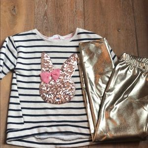 Other - H&M Sequin Bunny Sweatshirt & Gold leggings